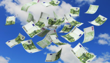 Falling euro money currency from the sky
